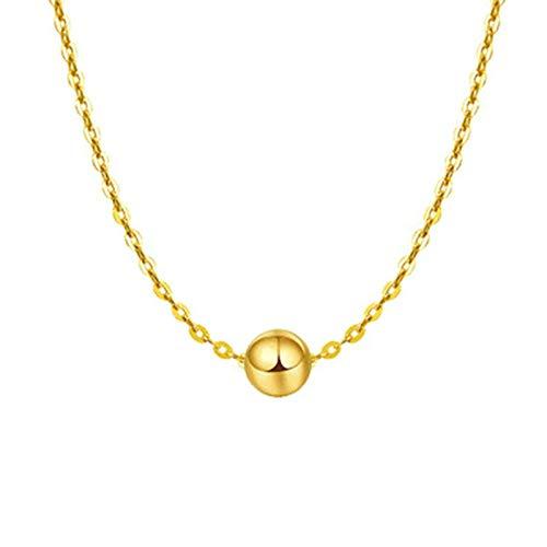Daesar Collar Cadena Oro Amarillo 18K Mujer,Colgante de Mujer de Oro Bola