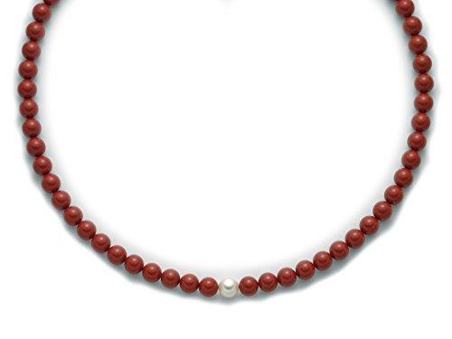 Miluna - Collana Miluna con corallo e perla chiusura in argento 925%