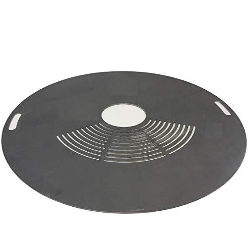 TMM Grillplatte Feuerplatte Ø 100cm mit innen Griffe und Grillrostfläche Barbecue 5mm Grill BBQ Fassgrill Stahlfass Holzkohlegrill Kugelgrill Feuertonne