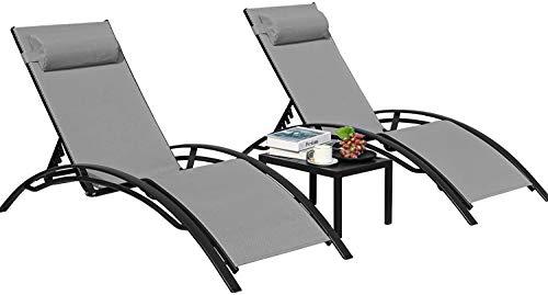 GARTIO Sun Lounger Recliner Set, 3 Piece Aluminum Chaise Lounges With 5 Adjustable Backrest, Head Cushion, Table, Reclining Chair For Outdoor Garden Backyard Patio Poolside