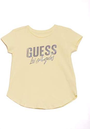 GUESS Girls Little Irridescent FOIL Logo Short Sleeve T Shirt Soft Lemon 6X 7 product image