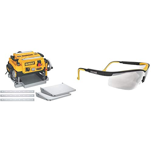 DEWALT 13-Inch Thickness Planer, Three Knife, Two-speed with Protective Safety Glasses (DW735X & DPG55-1C)