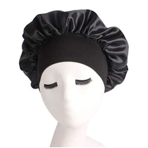 LJSLYJ femmes épaisses douche chapeaux de bonnets de douche couverture de cheveux double bonnet de bain, noir