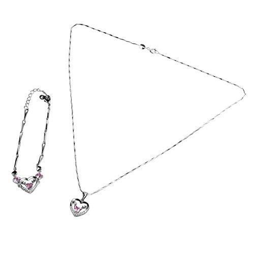 Lady Bracelet Necklace Conjunto de collar de pulsera no tóxico Regalos de joyería para mujeres Sin níquel para damas Regalo de San Valentín(Pink)