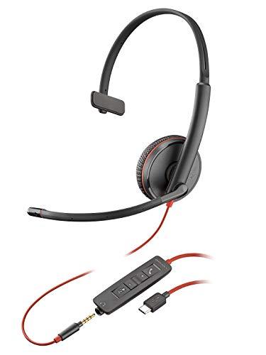 Plantronics Blackwire 3215 Monoaural Diadema Negro - Auriculares con micrófono (Centro de Llamadas/Oficina, Monoaural, Diadema, Negro, Digital, Alámbrico)