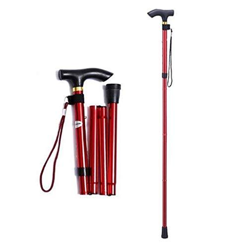 Bastón, altura ajustable plegable altura plegable Bastón ligero antideslizante unisex, bastón ajustable ligero para equilibrio, ayuda de movilidad, 82-92cm, (150 kg máximo), rojo ⭐