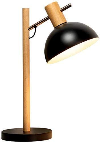 Daily Equipment Lámpara de mesa de madera Nordic Creative Eye Protection Lámpara de cabecera E14 Art Deco Estudio de escritorio Enchufe con interruptor de botón Lámpara de escritorio de hierro forj