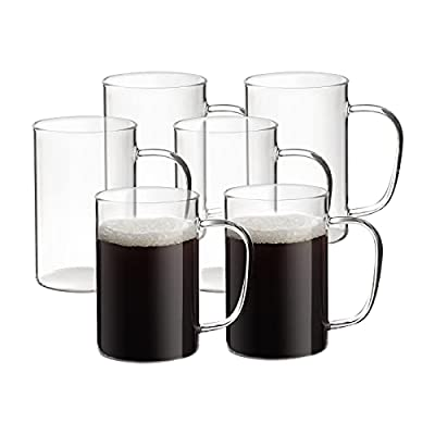 HORLIMER 17 oz Glass Cups Set of 6, Clear Glass Coffee Mugs for Tea Cappuccino Latte Milk Juice