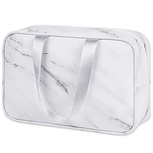 Full Size Toiletry Bag Large Cosmetic Bag Travel Makeup Bag Organizer for Women and Girl (Large, Marble)