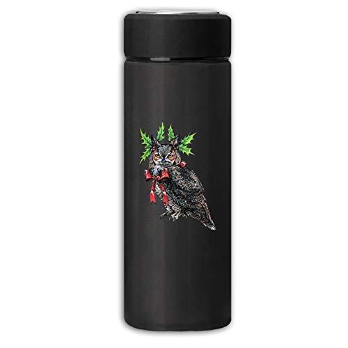 Cjihefa New Water Bottle Grumpy Christmas Owl Frosted Beverage Bottle For Hot/Cold Drink Coffee Or Tea Black