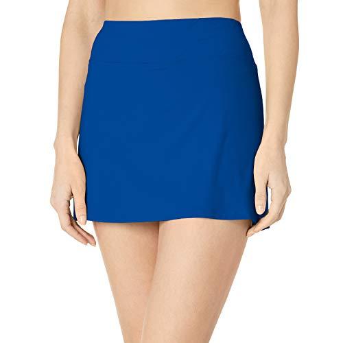 24th & Ocean Women's Skirted Built-in Short Skort Bikini Swimsuit Bottom, Cobalt, XL
