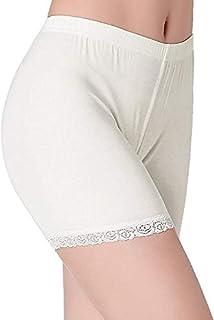 GLAMORAS Women's Girl's 4 Way Stretch Cotton Short Length Lace Cycling Shorts/Yoga Shorts/Under Skirt Shorts/Safety Shorts,Free Size