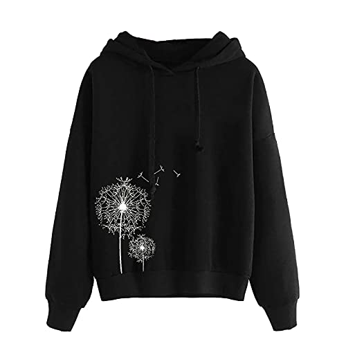 BIKETAFUWY Sudadera de manga larga con capucha para mujer, con bordado, de manga larga, para otoño e invierno, Negro , XL