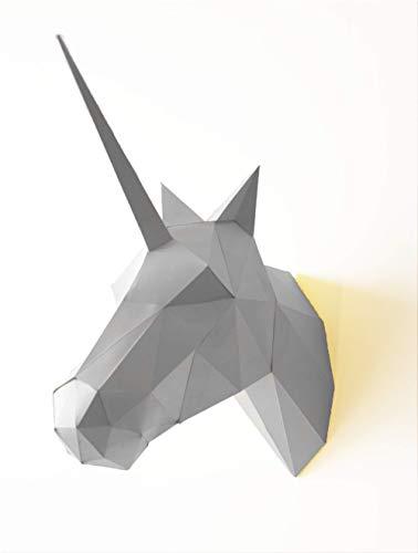 Trophée Licorne - Papier Origami 3D (blanc)