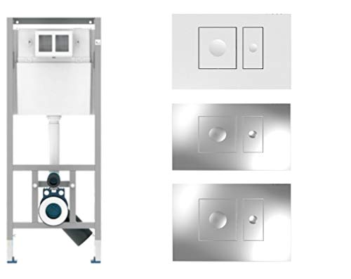 Sanit WC Vorwandelement Unterputzspülkasten Spülkasten inklusive Drückerplatte Square Wand hängend 112cm Platte (Weiss)