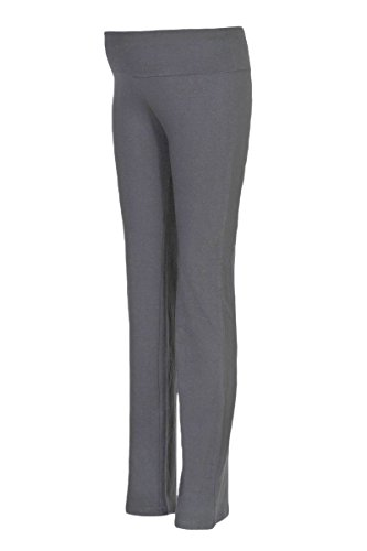 Beachcoco Maternity Fold Over Comfortable Lounge Pants Yoga Workout Jogging Pregnancy (M, Solid Charcoal)