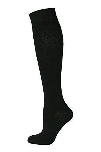 Mysocks® Unisex lange Kniestrümpfe aus besonders feiner, gekämmter Baumwolle, Schwarz, MKP001p