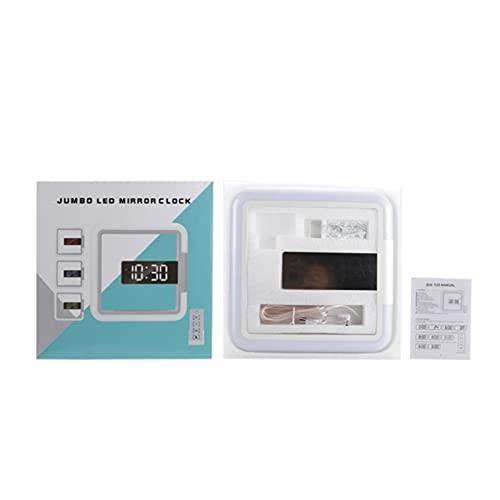 LOULE Reloj de pared digital con control remoto creativo, Reloj despertador con espejo LED, Luces LED de colores, Pantalla de temperatura, Reloj de pared digital inteligente
