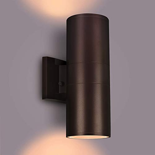 Outdoor Wall Light,Exterior Lighting with Dusk to Dawn Sensor - 2 Light Bulbs Included, Aluminum Waterproof Design - Up Down Light Fixture for Porch, Backyard and Patio[ETL Listed]