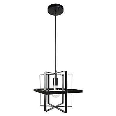 1 Light Farmhouse Industrial Pendant Lighting Black Modern Chandelier for Kitchen Island Dining Room Bedroom Living Room Foyer