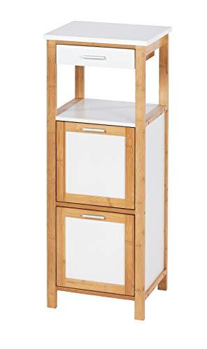 Wenko Finja - Estantería de baño con 2 Compartimentos (bambú, 34 x 89 x 30 cm), Color marrón