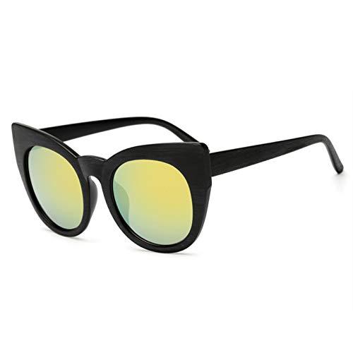 MDKCDUBP Gafas De Sol Unisex Gafas De Sol De Imitación De Madera De Imitación Retro Gafas De Sol De Gran Tamaño Gafas De Moda Doradas para Actividades Aire Libre