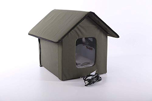 K&H Pet Products Outdoor Heated Kitty House, Olive, 20W