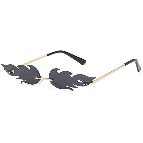 FeiliandaJJ Creative Flamme Form Sonnenbrille Damen Herren Metall Brillenfassungen, Mode Vintage Punk-Stil Sonnenbrille Retro Unisex Sunglasses (A)