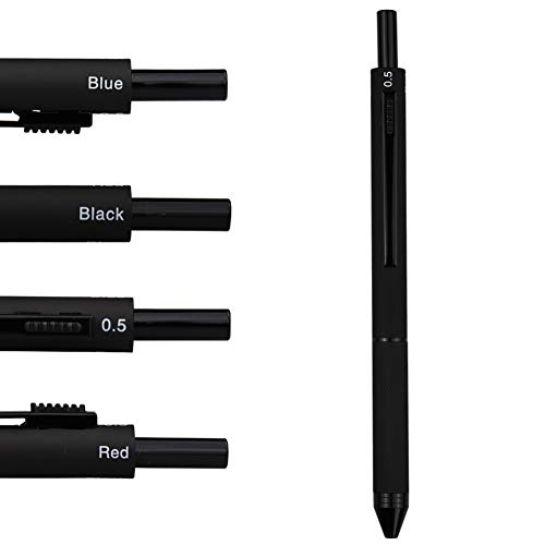 DunBong 4 in 1 Multicolor pen, Metal Cased Multifunction Pen, 0.5mm Mechanical Pencil, Red Ball Pen, Blue Ball Pen and Black Ball Pen (Black)