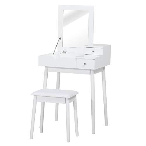 HOMCOM Coiffeuse Table de Maquillage avec Tabouret Miroir Rabattable Coffre + 2 tiroirs MDF Bois Massif pin Blanc
