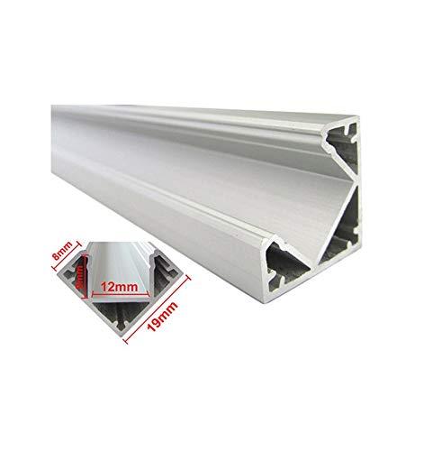 Profilo Canalina Barra Alluminio Led Anodizzato Angolare Corner Curva 90° Per Strip Led Fino a 12mm 1 Metro