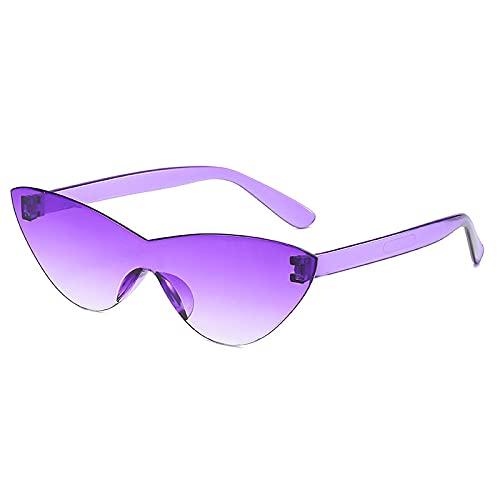 Gafas de sol de una pieza para mujer 2021 Color caramelo Retro Moda sin montura Gafas de sol Vintage Gafas de lujo-Gradient_Purple