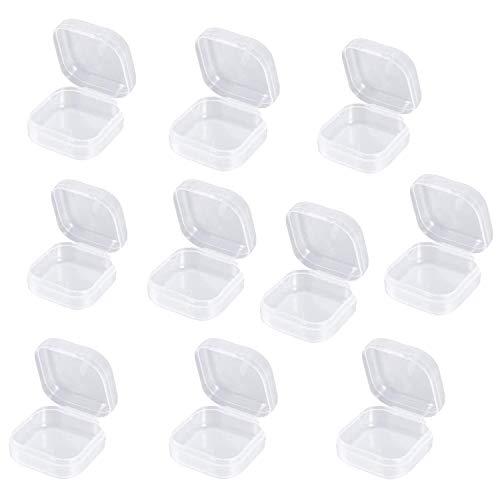 Wohlstand 10pcs contenitori di plastica Trasparente per contenitori con Coperchio Pieghevole Scatola Contenitorii in Plastica Piccoli per Articoli, Pillole, Erbe, Perline