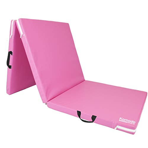 Photo of KOMODO Tri Folding Yoga Mat – PU Leather 6ft 5cm Thick Padded Floor Mats (Pink)