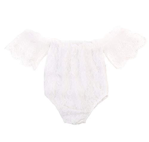 Loalirando Neugeborenes Baby Mädchen Spitzen Strampler Langarm Body Einteiler Sommer Prinzessin Body (18-24 Monate, Schulterfrei Body)