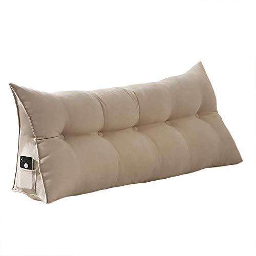DGYAXIN - Cojín de algodón con cuña triangular rellena de algodón PP, para colocar el respaldo de la cama, cabecero tapizado, almohada de lectura, funda lavable extraíble de 99 cm, Gris Beige, 39 Inches