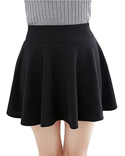 urban GoCo Falda Mujer Elástica Plisada Básica Patinador Multifuncional Corto Falda (M, Negro)
