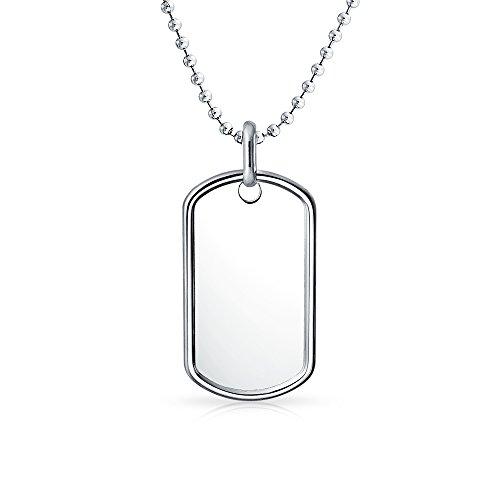 Bling Jewelry Collar grabable ejército Militar Perro Etiqueta para Hombres 925 Plata de Ley con Tiro de Bola de Cuenta Cadena 16 Pulgadas