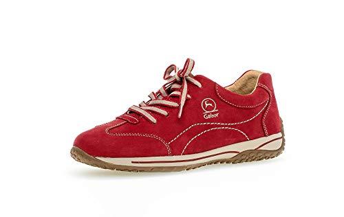 Gabor Damen Sneaker, Frauen Low-Top Sneaker,Comfort-Mehrweite,Übergrößen,Optifit- Wechselfußbett, sportschuh Frauen weibliche,Rubin,40 EU / 6.5 UK