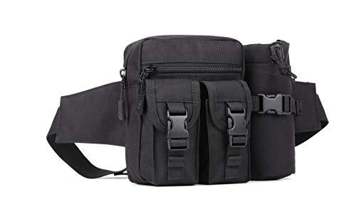 Yakmoo Bolso de Cintura Estilo Militar Táctico Bolsa de Riñonera o Bandolera Impermeable con Bolsillo para Botella al Aire Libre Negro