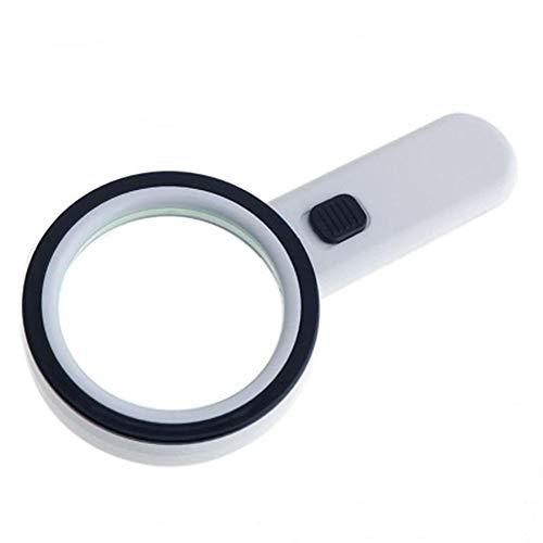 JTeam Lupe Mit Hellweißer LED Beleuchteter Lupe Handvergrößerungswerkzeug Zum Lesen Inspektion Schmuck Hobby Basteln (Color : White)