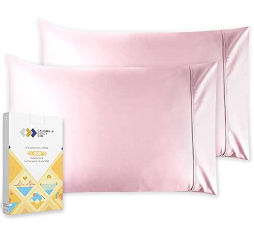 California Design Den 400 Thread Count 100% Cotton Pillowcase Set of 2, Long - Staple Combed Pure Natural Cotton Pillowcase, Soft & Silky Sateen Weave (Standard, Blush Pink)