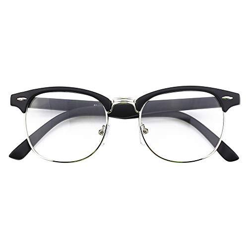 Happy Store CN56 Vintage Inspired Classic Horn Rimmed Half Frame Nerd UV400 Clear Lens Glasses,Matte Black