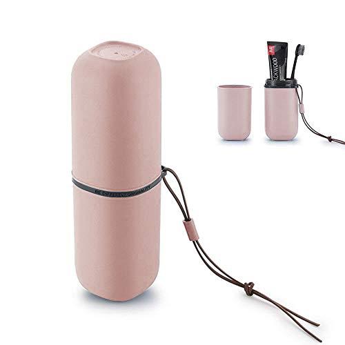 USAR Reise Wasser Becher Set, Kreativer Zahnputzbecher Zahnbürstenhalter (Rosa)
