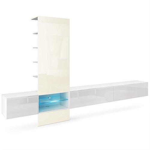 Vladon Wohnwand Anbauwand Manhattan V3, Korpus in Weiß matt/Fronten in Weiß Hochglanz, Paneel in Creme Hochglanz mit LED Beleuchtung