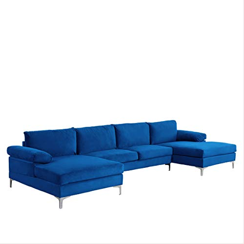Casa AndreaMilano Modern Large Velvet Fabric U-Shape Sectional Sofa, Double Extra Wide Chaise Lounge Couch, Deep Blue