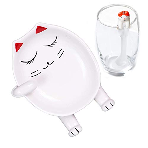 YOUJINYU Ceramic Spoon Rest For Kitchen With A Coffee Spoon Cute Cat Spoon Holder For Stove Top Easy To Clean1 redspoonsnot included the glass