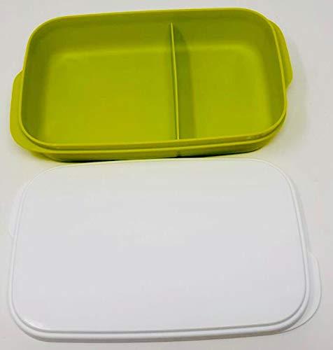 Tupperware Fiambrera para llevar de 590 ml, color verde lima y blanco, con separador, ideal para pausas y escuelas