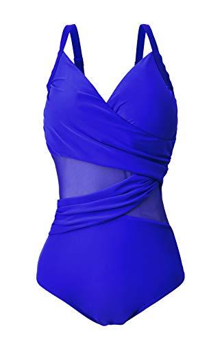 Viloree Mode Damen One Piece Badeanzüge V Ausschnitt Geraffte Monokini Bauchweg Figurformender netzartiger Blau L
