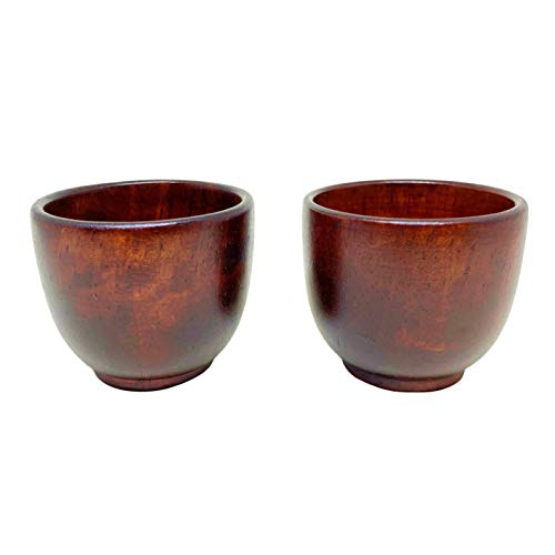 Wooden Cups – Traditional Korean Wood Sake Shot Glass with Giftbox – Handmade Jujube Tree Small Cups for Sake, Soju and Liquor – 2 Pc Wooden Mug Set – Premium Craftmanship – Exquisite Design